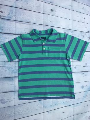 Mini Boden green and blue striped polo top age 7-8